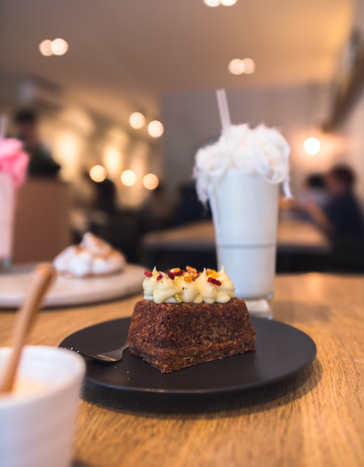 carrot cake and a milkshake